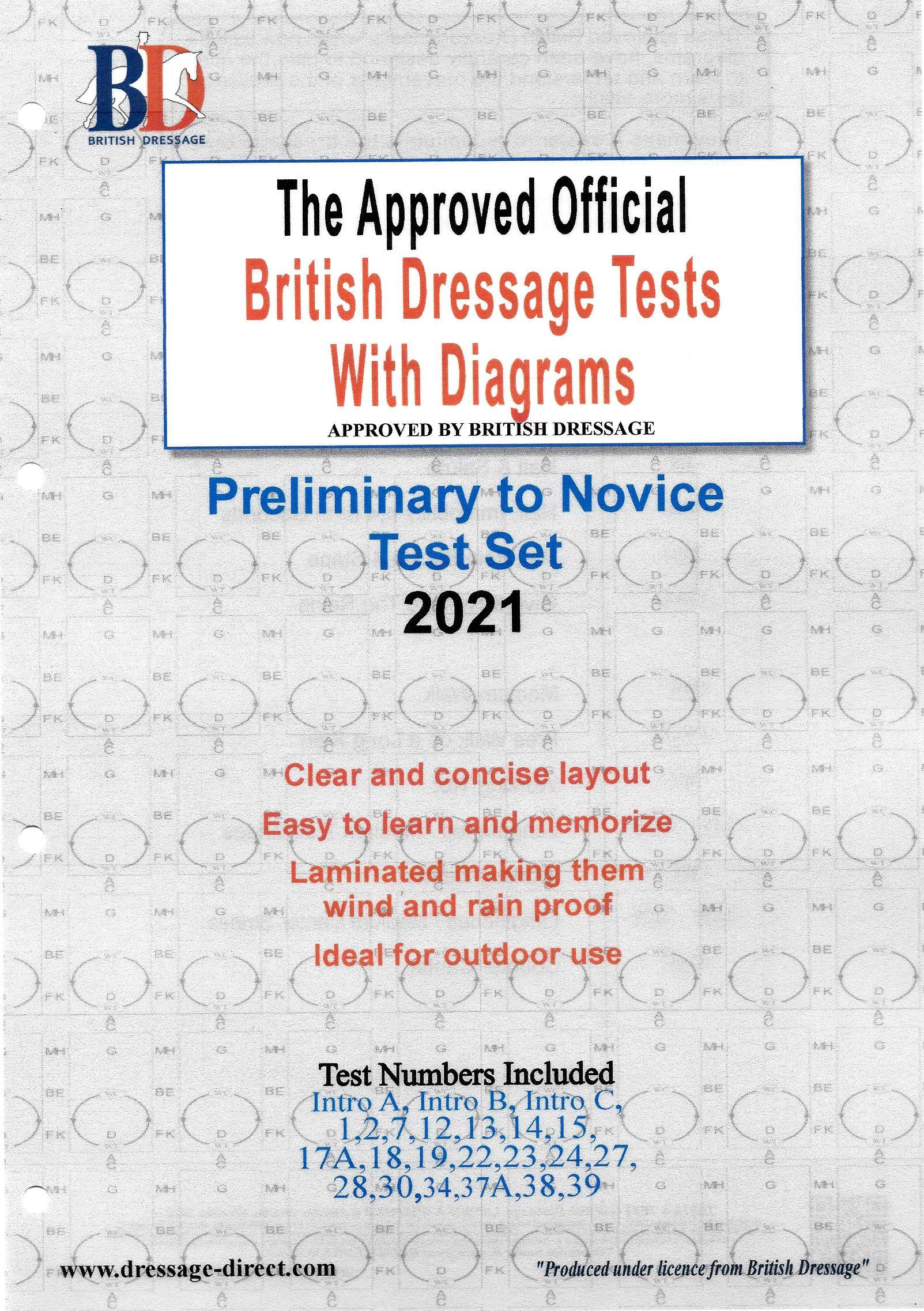British Dressage 2021 Intro, Prelim and Novice test set with Diagrams