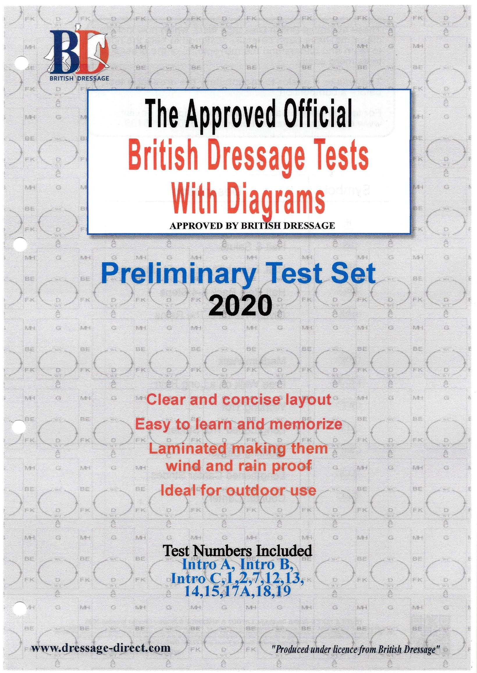 British Dressage Intro and Preliminary Test Set with Diagrams