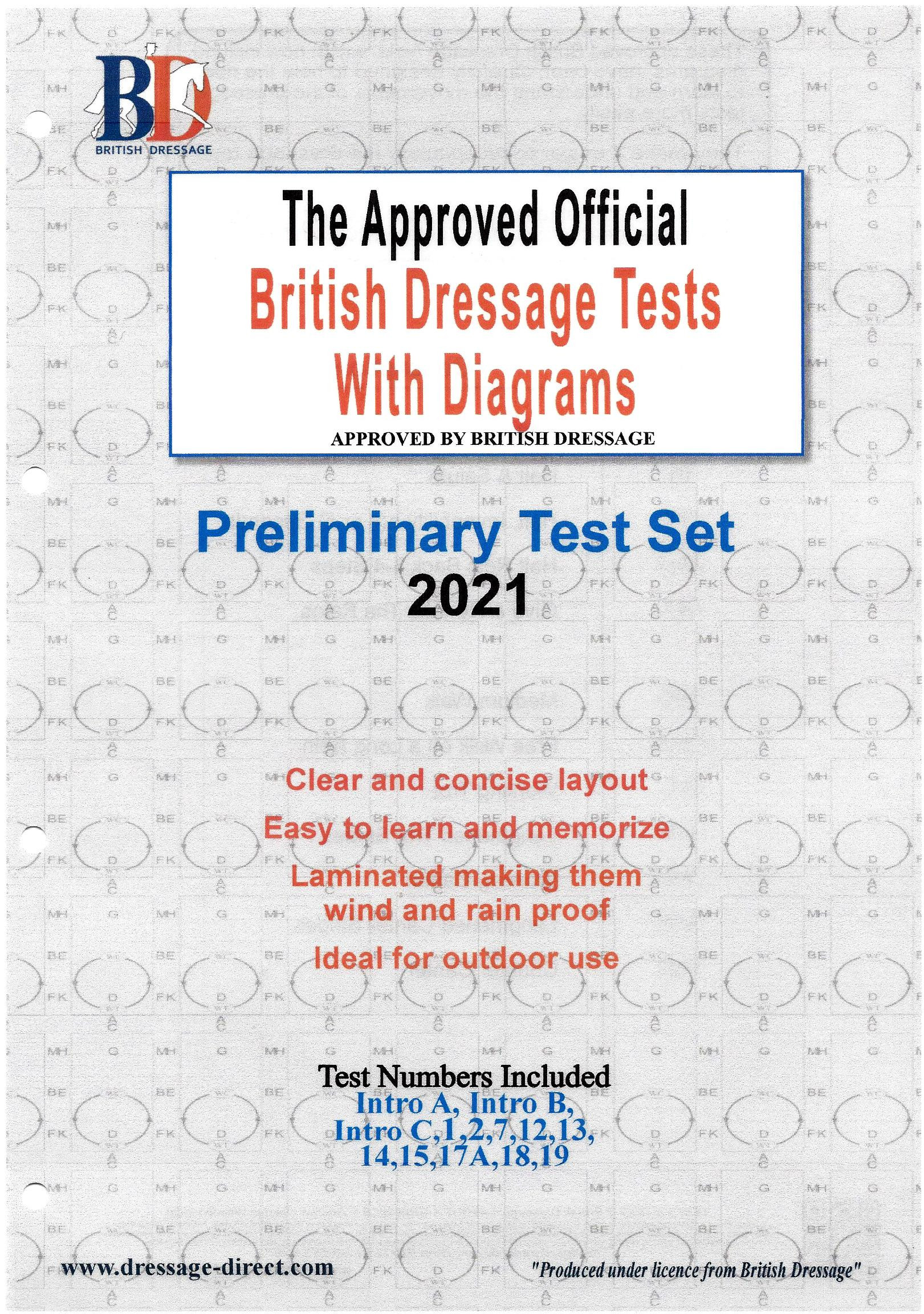 British Dressage 2021 Intro and Preliminary Test Set with Diagrams