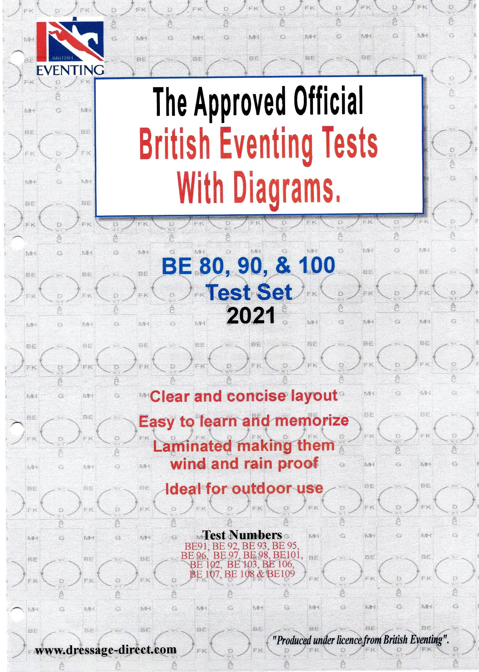 British Eventing 2021 BE 80, 90 and 100 Dressage Tests Set with Diagrams from Trot-Online